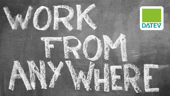 Work from anywhere Schriftzug mit Datev-Logo